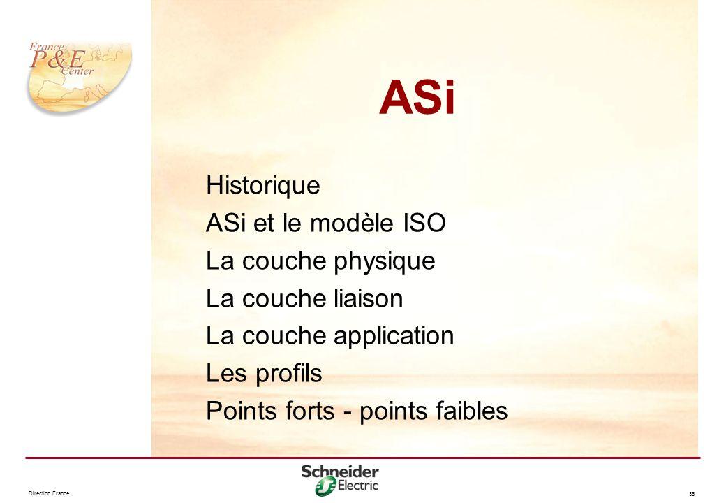 Direction France 36 ASi Historique ASi et le modèle ISO La couche physique La couche liaison La couche application Les profils Points forts - points f