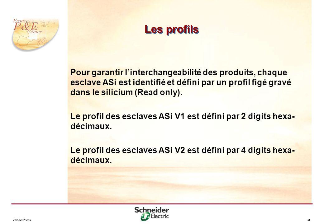 Direction France 44 Les profils Pour garantir linterchangeabilité des produits, chaque esclave ASi est identifié et défini par un profil figé gravé da