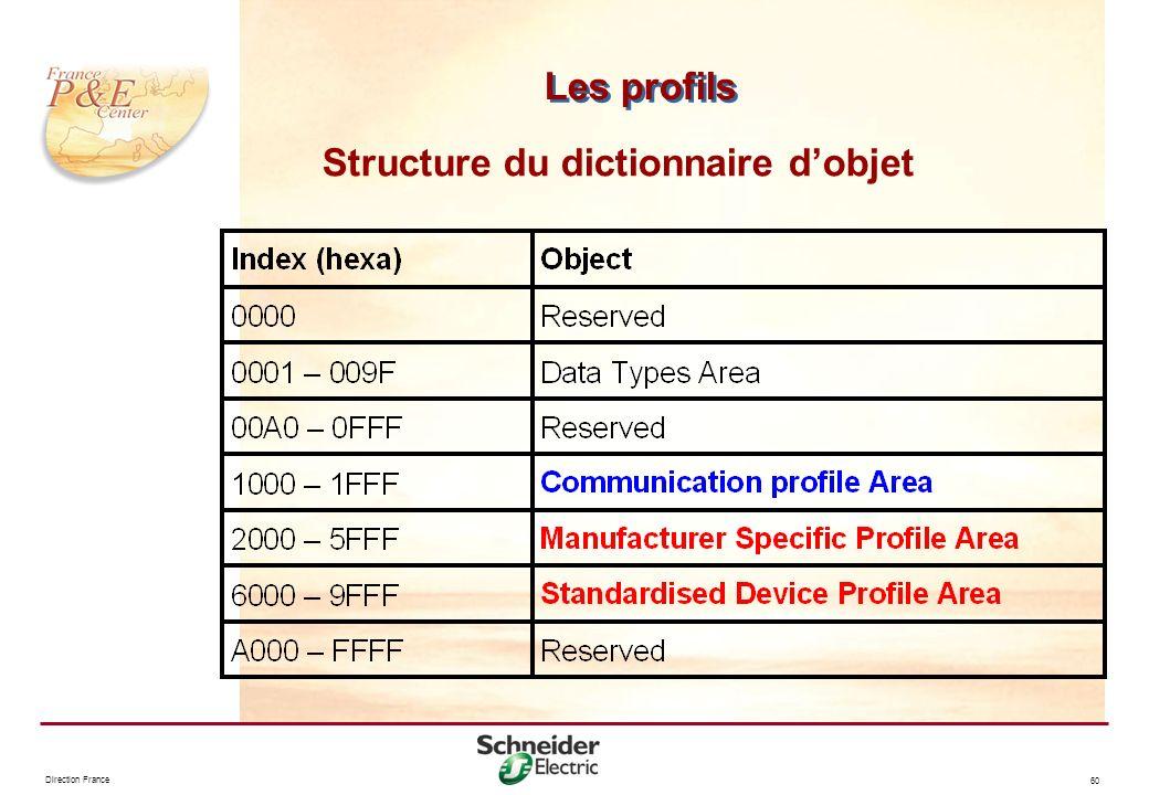 Direction France 60 Les profils Structure du dictionnaire dobjet