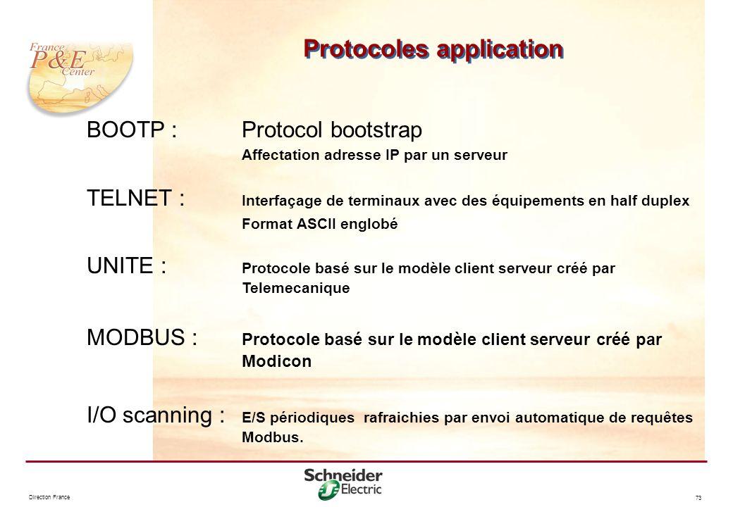 Direction France 73 Protocoles application BOOTP :Protocol bootstrap Affectation adresse IP par un serveur TELNET : Interfaçage de terminaux avec des