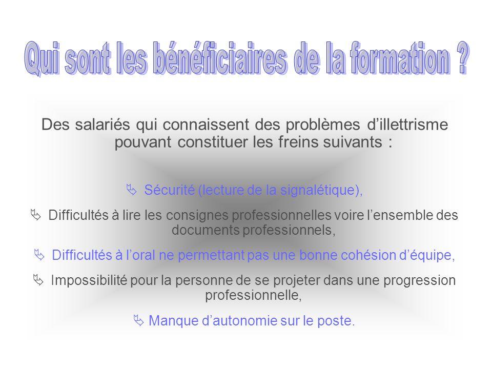Des salariés qui connaissent des problèmes dillettrisme pouvant constituer les freins suivants : Sécurité (lecture de la signalétique), Difficultés à