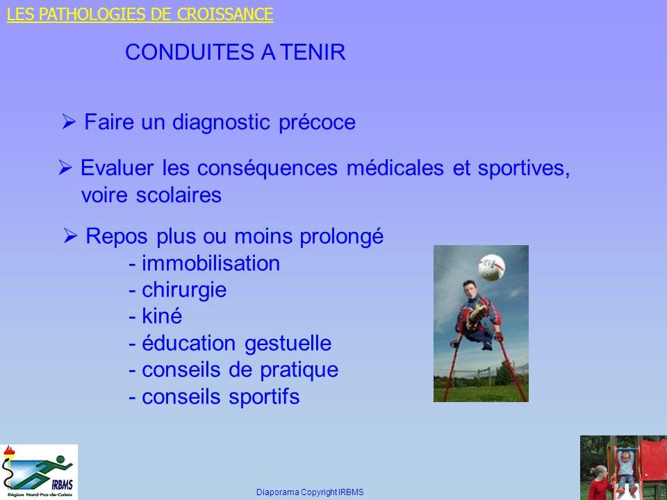 CONDUITES A TENIR Faire un diagnostic précoce Evaluer les conséquences médicales et sportives, voire scolaires Repos plus ou moins prolongé - immobili