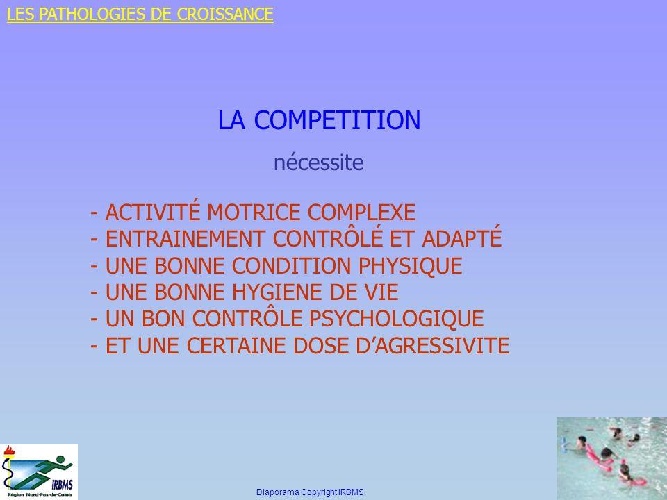 LA COMPETITION nécessite - ACTIVITÉ MOTRICE COMPLEXE - ENTRAINEMENT CONTRÔLÉ ET ADAPTÉ - UNE BONNE CONDITION PHYSIQUE - UNE BONNE HYGIENE DE VIE - UN