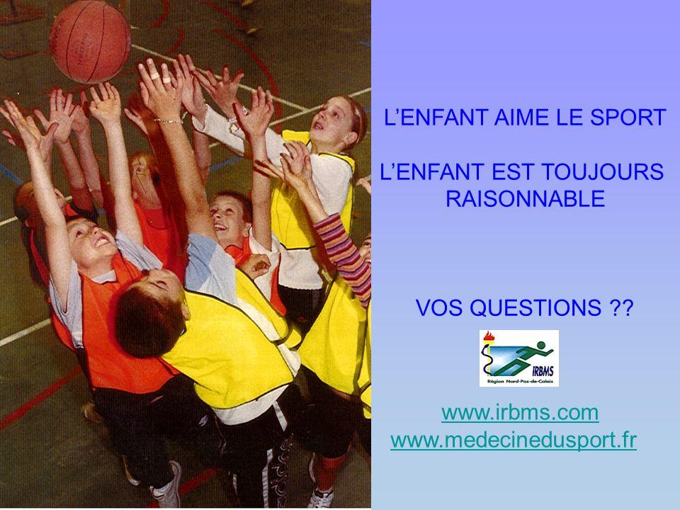 LENFANT AIME LE SPORT LENFANT EST TOUJOURS RAISONNABLE VOS QUESTIONS ?? www.irbms.com www.medecinedusport.fr