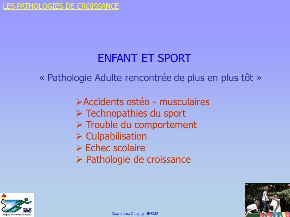 ENFANT ET SPORT « Pathologie Adulte rencontrée de plus en plus tôt » Accidents ostéo - musculaires Technopathies du sport Trouble du comportement Culp