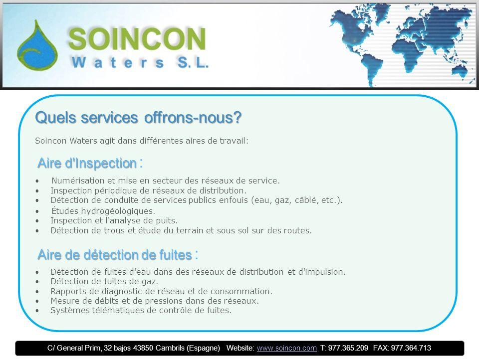 C/ General Prim, 32 bajos 43850 Cambrils (Espagne) Website: www.soincon.com T: 977.365.209 FAX: 977.364.713www.soincon.com Aire de Projets et de Rapports Techniques Aire de Projets et de Rapports Techniques : Rapports techniques d optimisation de réseaux de distribution d eau.
