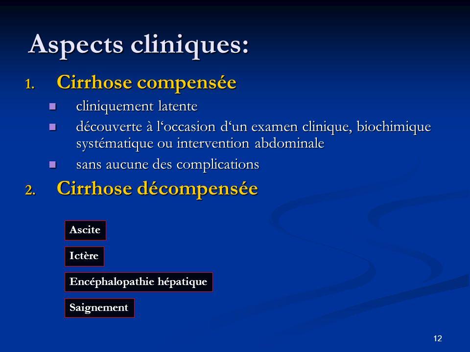 12 Aspects cliniques: 1. Cirrhose compensée cliniquement latente cliniquement latente découverte à loccasion dun examen clinique, biochimique systémat