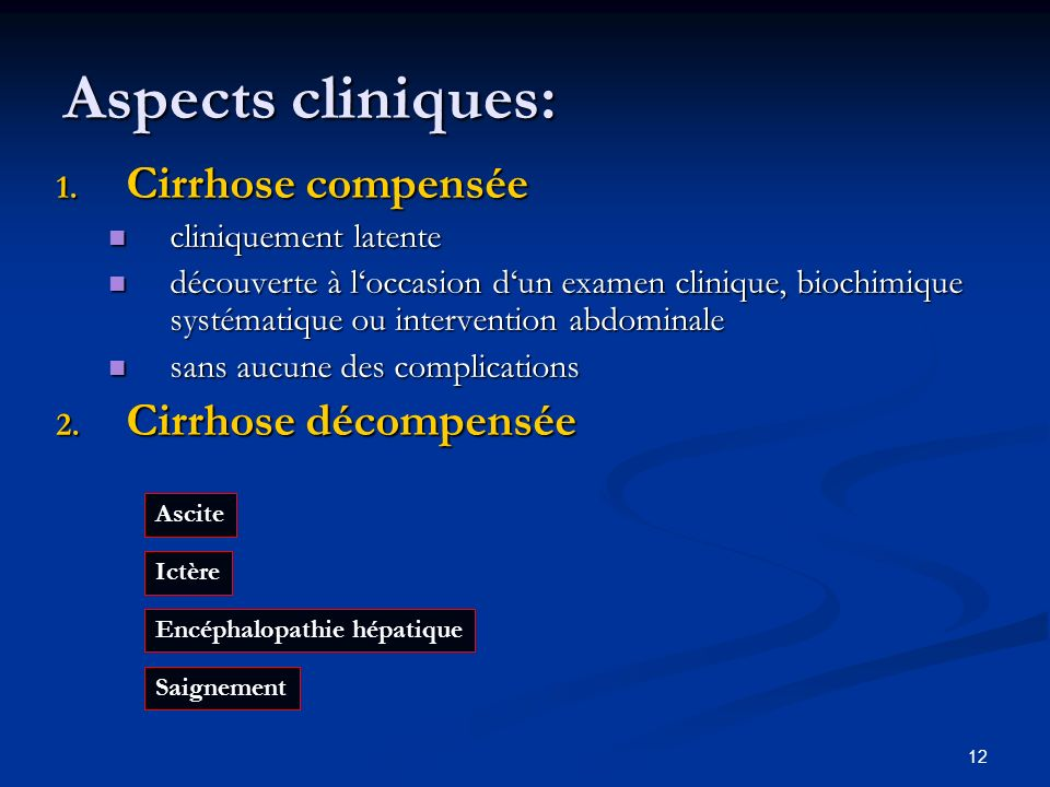 12 Aspects cliniques: 1.