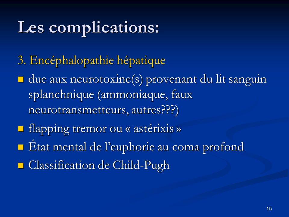 15 Les complications: 3. Encéphalopathie hépatique due aux neurotoxine(s) provenant du lit sanguin splanchnique (ammoniaque, faux neurotransmetteurs,