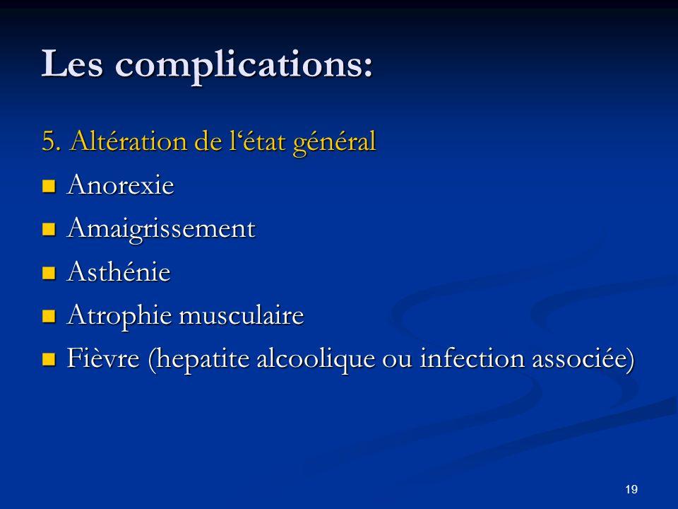 19 Les complications: 5. Altération de létat général Anorexie Anorexie Amaigrissement Amaigrissement Asthénie Asthénie Atrophie musculaire Atrophie mu