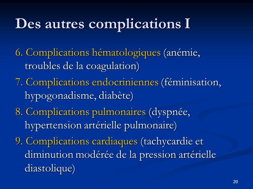20 Des autres complications I 6. Complications hématologiques (anémie, troubles de la coagulation) 7. Complications endocriniennes (féminisation, hypo