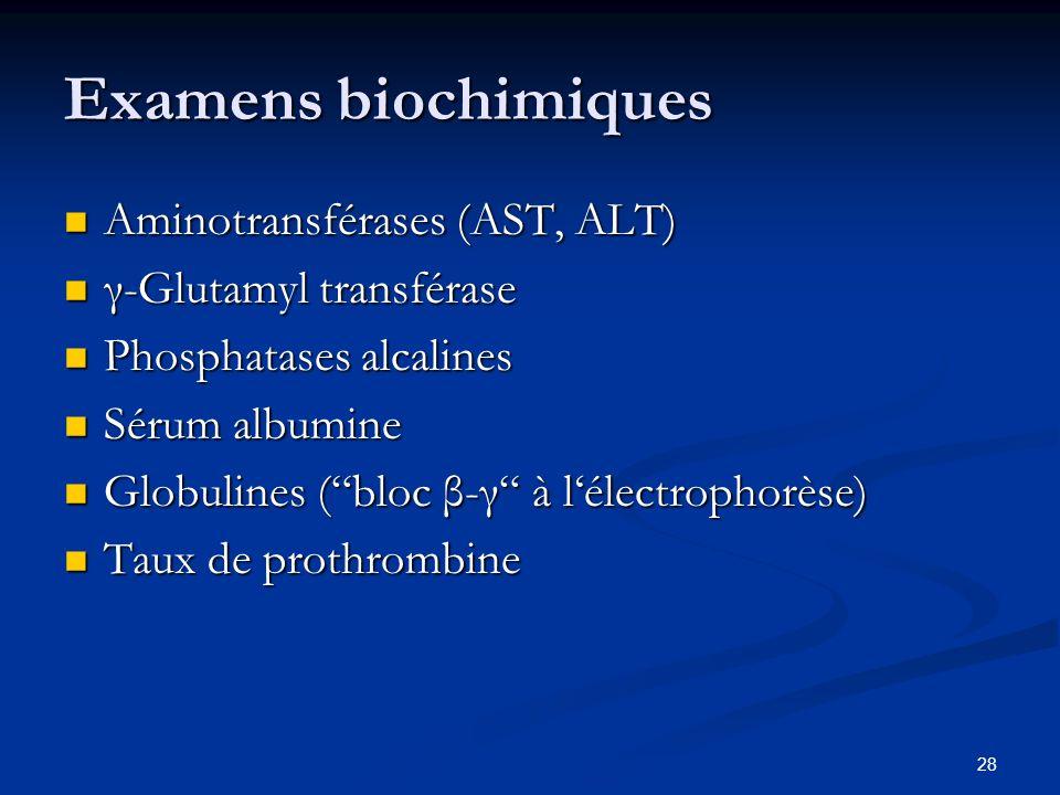 28 Examens biochimiques Aminotransférases (AST, ALT) Aminotransférases (AST, ALT) γ-Glutamyl transférase γ-Glutamyl transférase Phosphatases alcalines Phosphatases alcalines Sérum albumine Sérum albumine Globulines (bloc β-γ à lélectrophorèse) Globulines (bloc β-γ à lélectrophorèse) Taux de prothrombine Taux de prothrombine