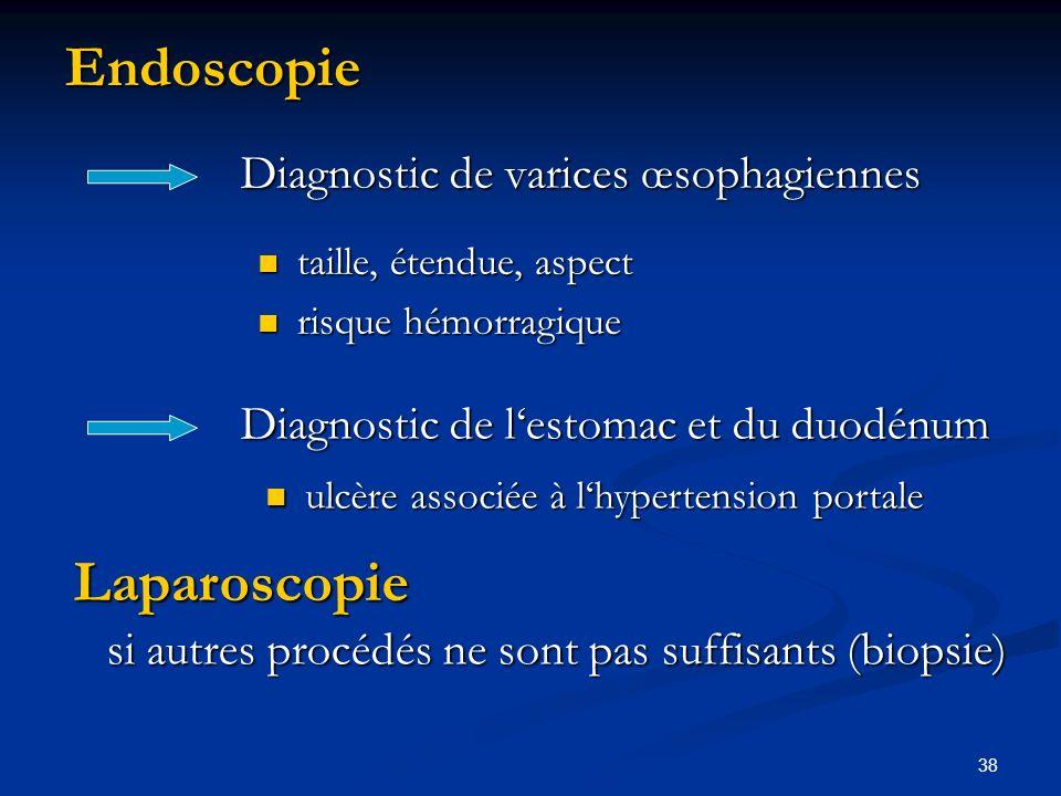 38Endoscopie Diagnostic de varices œsophagiennes taille, étendue, aspect risque hémorragique Diagnostic de lestomac et du duodénum ulcère associée à lhypertension portale ulcère associée à lhypertension portale Laparoscopie si autres procédés ne sont pas suffisants (biopsie)
