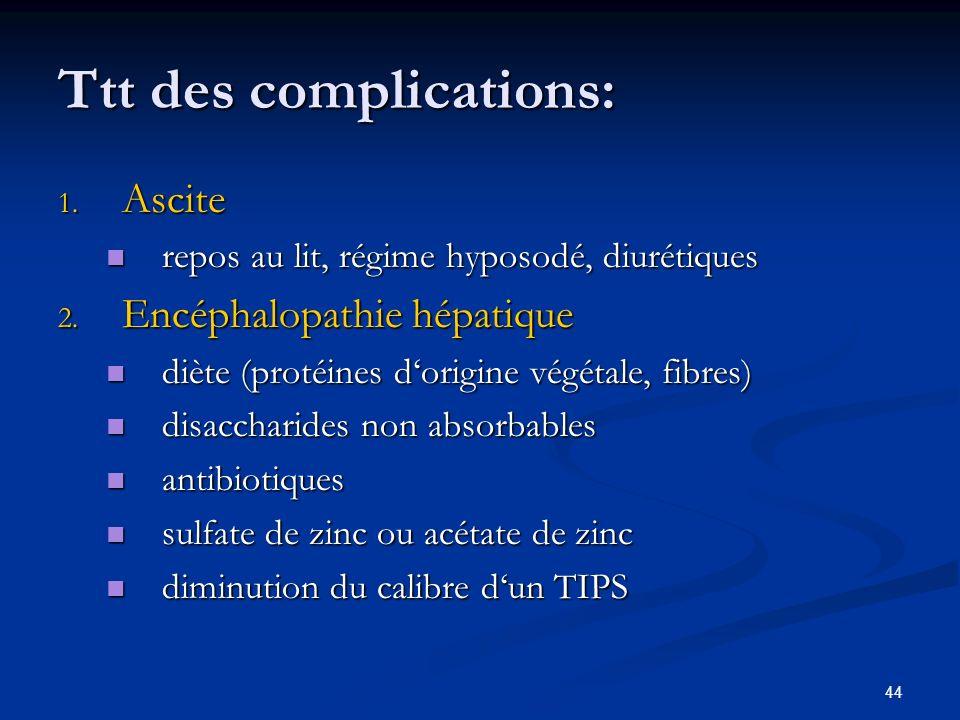 44 Ttt des complications: 1. Ascite repos au lit, régime hyposodé, diurétiques repos au lit, régime hyposodé, diurétiques 2. Encéphalopathie hépatique