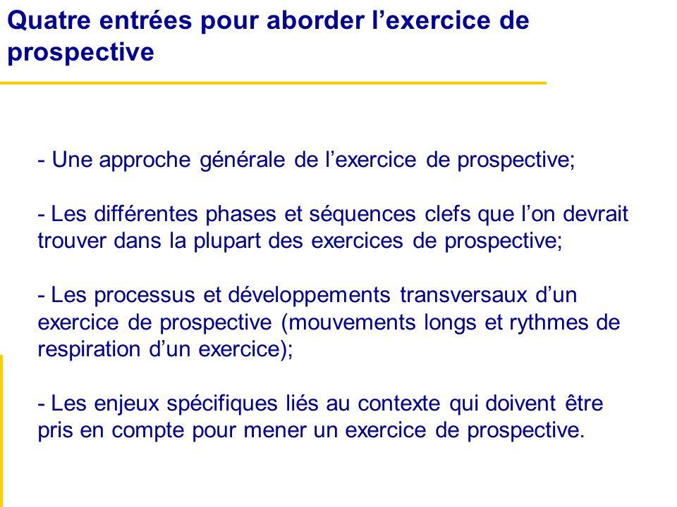 Quatre entrées pour aborder lexercice de prospective - Une approche générale de lexercice de prospective; - Les différentes phases et séquences clefs