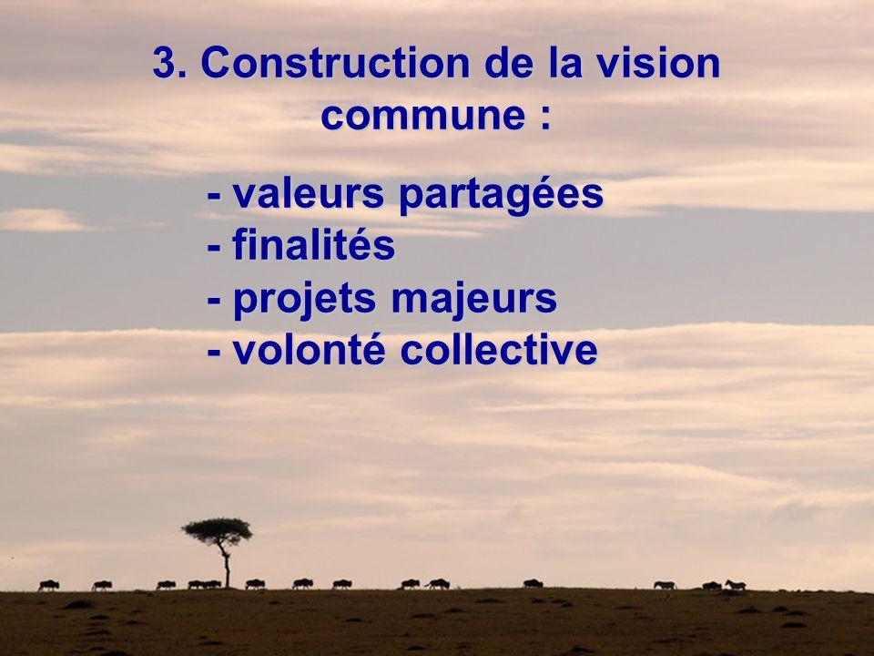 3. Construction de la vision commune : - valeurs partagées - finalités - projets majeurs - volonté collective