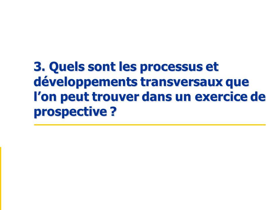 3. Quels sont les processus et développements transversaux que lon peut trouver dans un exercice de prospective ?