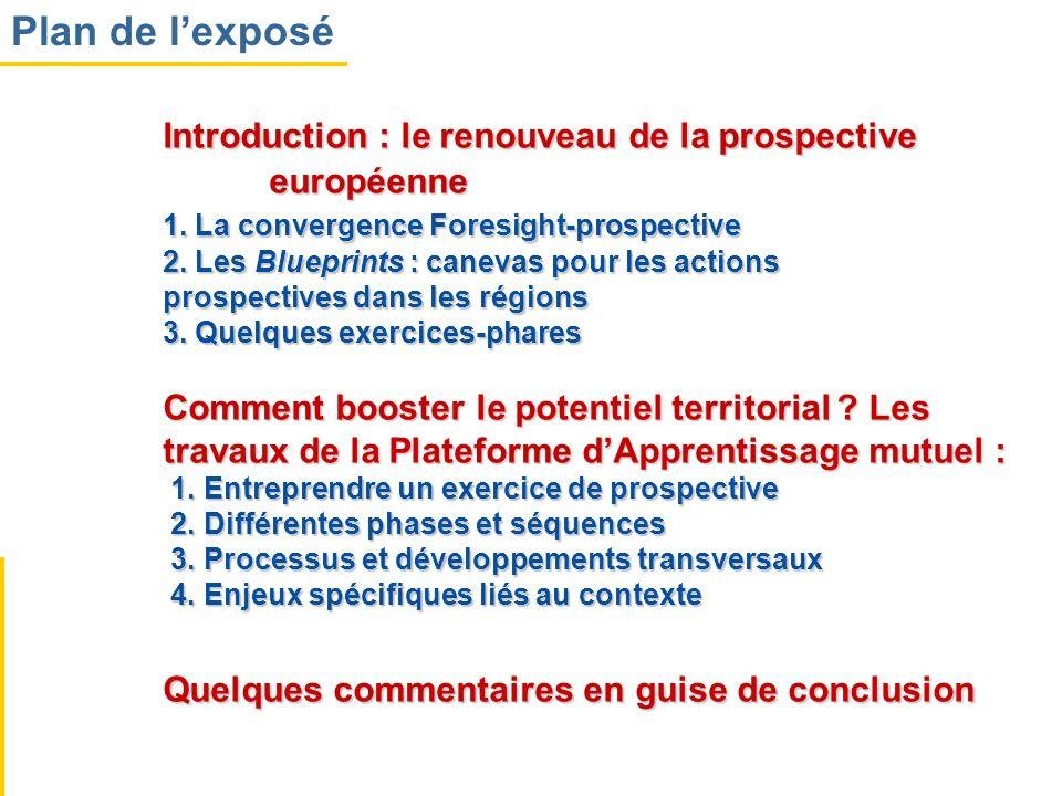 Introduction : le renouveau de la prospective européenne 1. La convergence Foresight-prospective 2. Les Blueprints : canevas pour les actions prospect