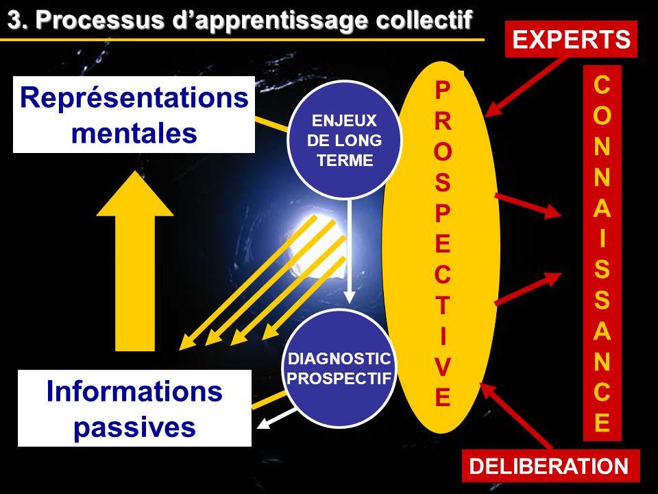 EXPERTS DELIBERATION ENJEUX DE LONG TERME Informations passives Représentations mentales PROSPECTIVEPROSPECTIVE CONNAISSANCECONNAISSANCE DIAGNOSTIC PR