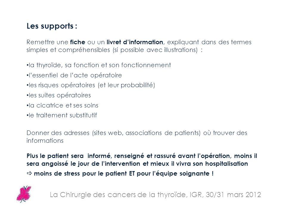 La Chirurgie des cancers de la thyroïde, IGR, 30/31 mars 2012 Les supports : Remettre une fiche ou un livret dinformation, expliquant dans des termes