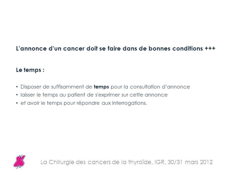 La Chirurgie des cancers de la thyroïde, IGR, 30/31 mars 2012 L'annonce d'un cancer doit se faire dans de bonnes conditions +++ Le temps : Disposer de