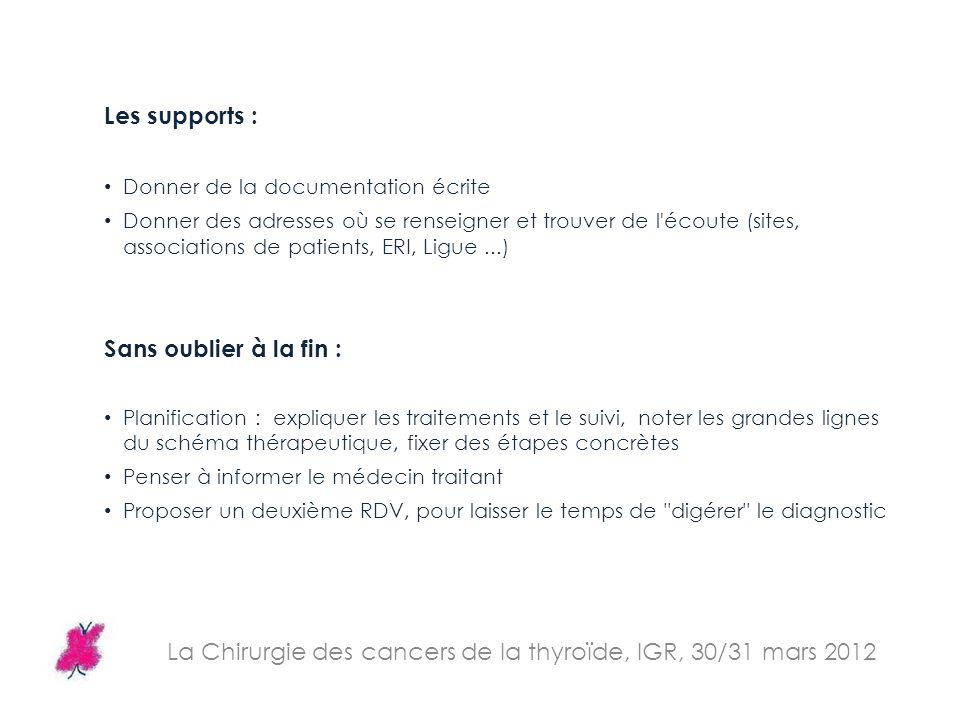 La Chirurgie des cancers de la thyroïde, IGR, 30/31 mars 2012 Les supports : Donner de la documentation écrite Donner des adresses où se renseigner et