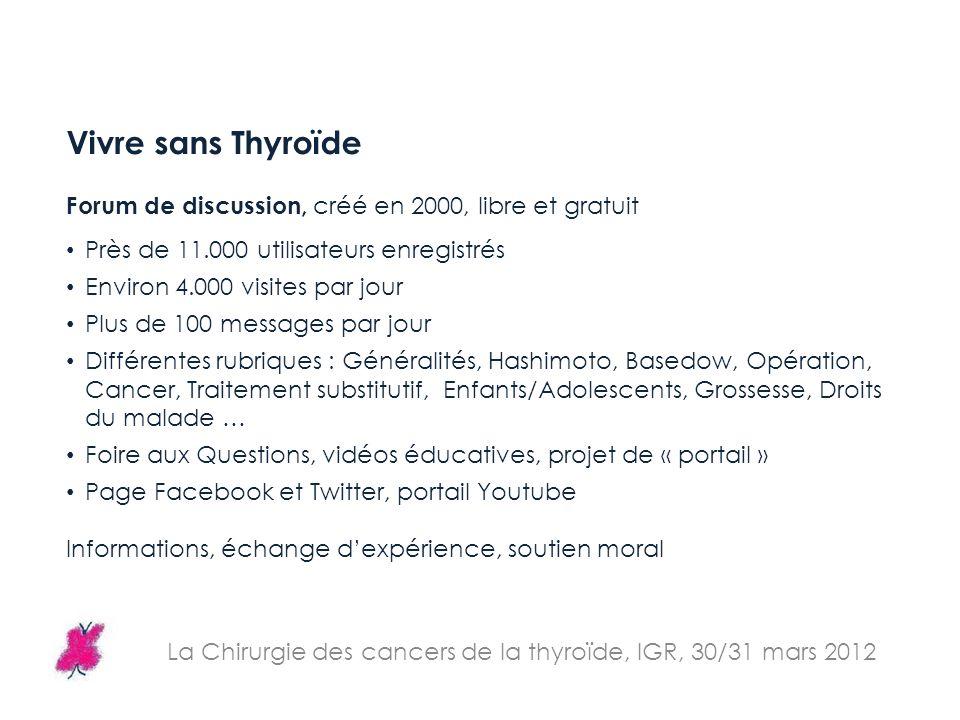 Vivre sans Thyroïde Forum de discussion, créé en 2000, libre et gratuit Près de 11.000 utilisateurs enregistrés Environ 4.000 visites par jour Plus de
