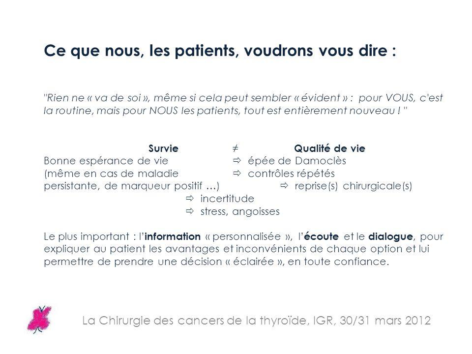 La Chirurgie des cancers de la thyroïde, IGR, 30/31 mars 2012 Ce que nous, les patients, voudrons vous dire :