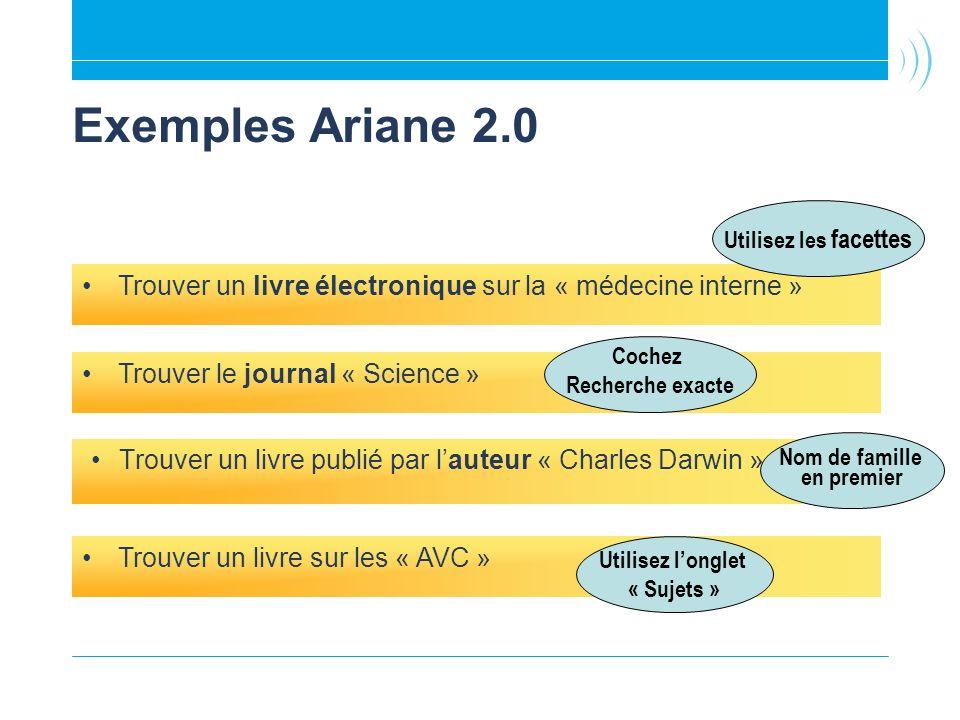 Exemples Ariane 2.0 Trouver un livre publié par lauteur « Charles Darwin » Trouver le journal « Science » Trouver un livre électronique sur la « médecine interne » Trouver un livre sur les « AVC » Utilisez longlet « Sujets » Utilisez les facettes Cochez Recherche exacte Nom de famille en premier