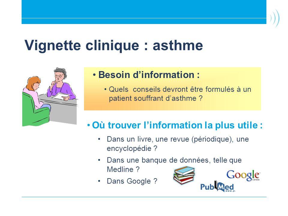 Vignette clinique : asthme Où trouver linformation la plus utile : Dans un livre, une revue (périodique), une encyclopédie .