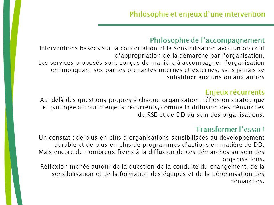 Philosophie et enjeux dune intervention Philosophie de laccompagnement Interventions basées sur la concertation et la sensibilisation avec un objectif