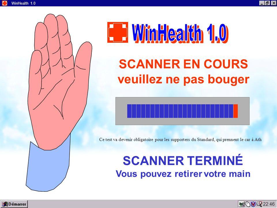 22:48 WinHealth 1.0 ERREUR 911 Cause possible de l erreur : > Mauvais contact entre la main et l écran > Absence de main sur l écran Veuillez replacer votre main en veillant à bien la plaquez contre l écran et à ne pas bouger durant l analyse.
