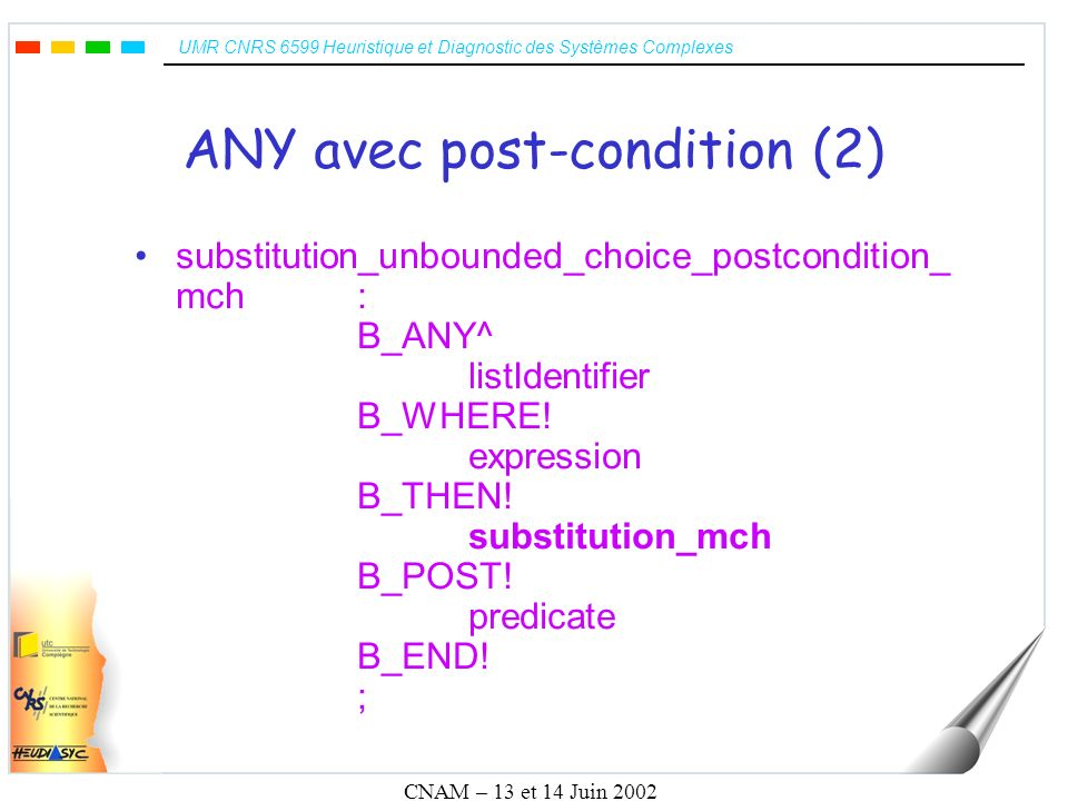 UMR CNRS 6599 Heuristique et Diagnostic des Systèmes Complexes CNAM – 13 et 14 Juin 2002 ANY avec post-condition (2) substitution_unbounded_choice_postcondition_ mch: B_ANY^ listIdentifier B_WHERE.