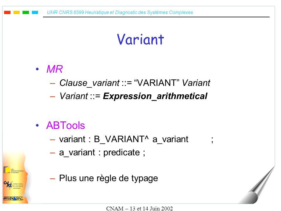UMR CNRS 6599 Heuristique et Diagnostic des Systèmes Complexes CNAM – 13 et 14 Juin 2002 Variant MR –Clause_variant ::= VARIANT Variant –Variant ::= E