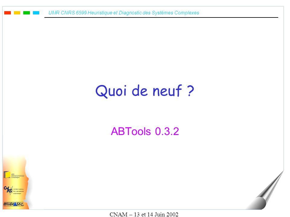 UMR CNRS 6599 Heuristique et Diagnostic des Systèmes Complexes CNAM – 13 et 14 Juin 2002 État des lieux B Classic –Lexeur/Parseur: OK –Décompileur graphique: OK –Décompileur textuel (ASCII, XML, LATEX et HTML): OK –Typeur (générique): Finalisation –Normalisateur (retrait des définitions): Finalisation –GOP: Début B Prime –Lexeur/Parseur: OK –Décompileur graphique: OK –Décompileur textuel (ASCII, XML, LATEX et HTML): OK B Système –Lexeur/Parseur: OK –Décompileur graphique: OK –Décompileur textuel (ASCII, XML, LATEX et HTML): OK B Event –Lexeur/Parseur: OK –Décompileur graphique: OK –Décompileur textuel (ASCII, XML, LATEX et HTML): OK