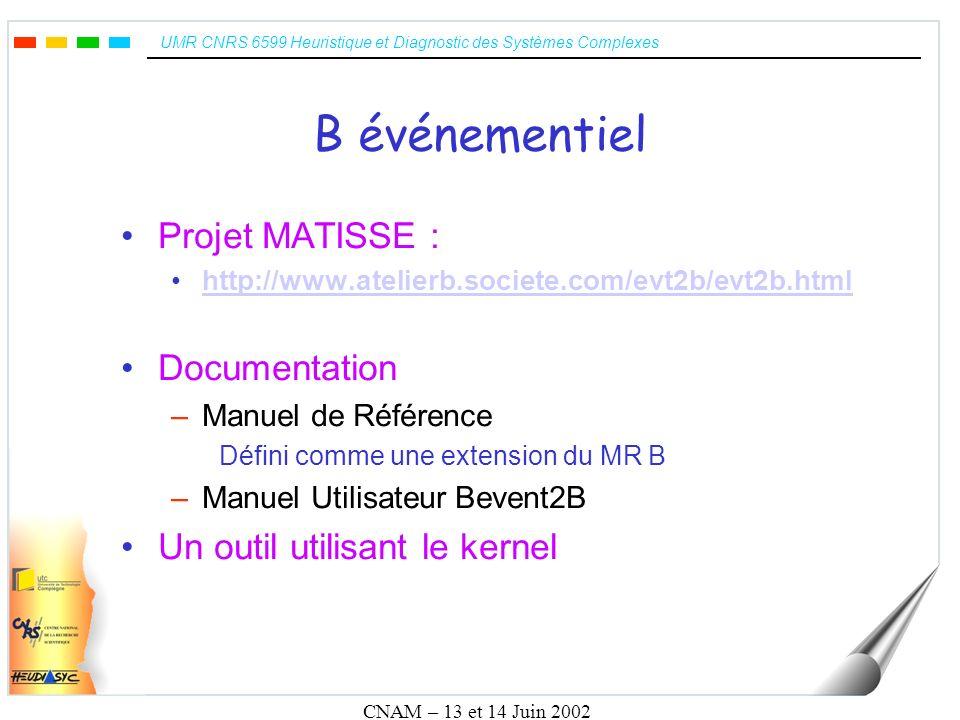 UMR CNRS 6599 Heuristique et Diagnostic des Systèmes Complexes CNAM – 13 et 14 Juin 2002 Intégration dans ABTools Création de larbre syntaxique: –Définir un lexer et un parser Décompilation –Définir un parcoureur darbre (treewalker) Génération dun code B équivalent –Définir un parcoureur darbre (treewalker)