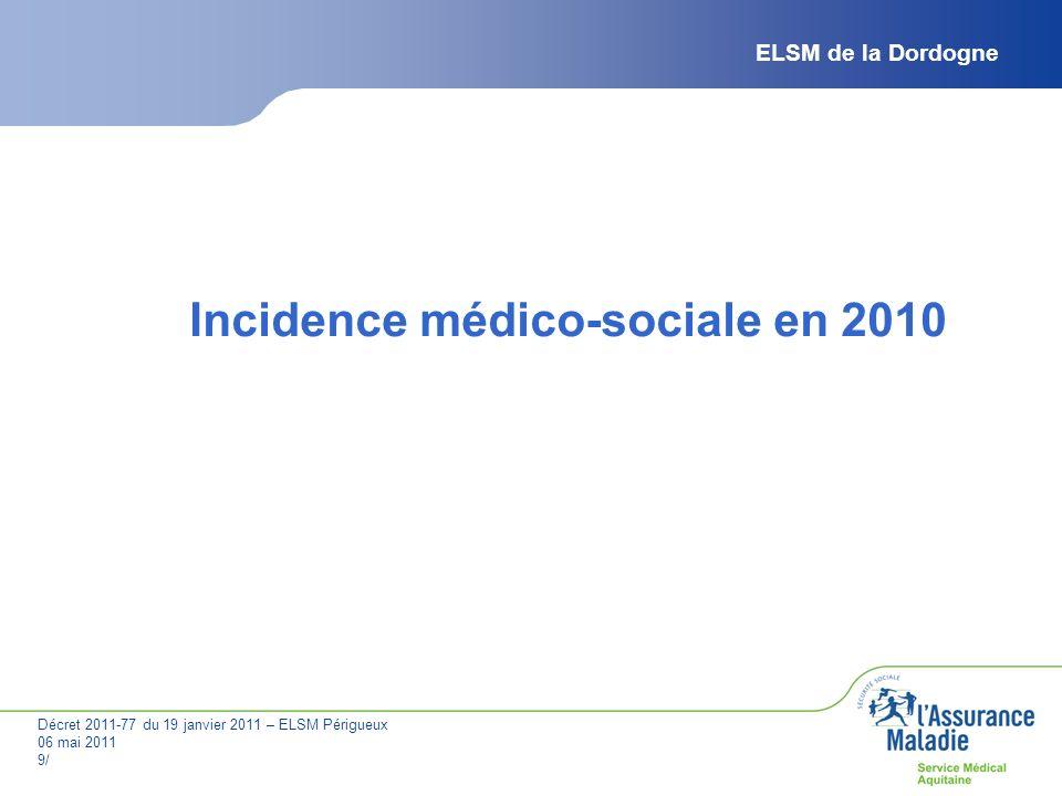 Décret 2011-77 du 19 janvier 2011 – ELSM Périgueux 06 mai 2011 9/ ELSM de la Dordogne Incidence médico-sociale en 2010