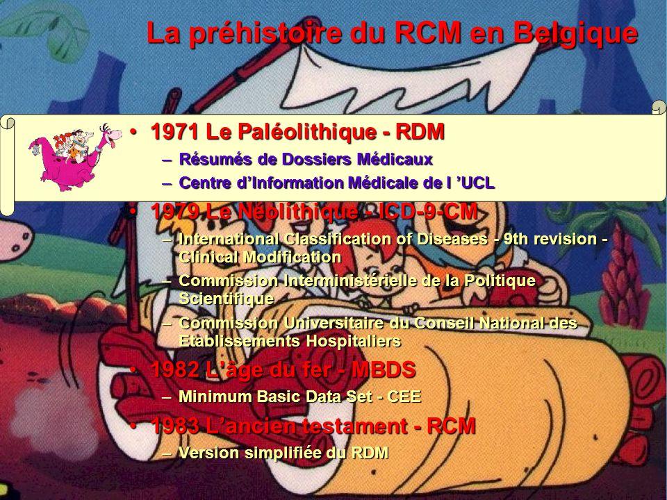 La préhistoire du RCM en Belgique 1971 Le Paléolithique - RDM1971 Le Paléolithique - RDM –Résumés de Dossiers Médicaux –Centre d Information Médicale de l UCL 1979 Le Néolithique - ICD-9-CM1979 Le Néolithique - ICD-9-CM –International Classification of Diseases - 9th revision - Clinical Modification –Commission Interministérielle de la Politique Scientifique –Commission Universitaire du Conseil National des Etablissements Hospitaliers 1982 Lâge du fer - MBDS1982 Lâge du fer - MBDS –Minimum Basic Data Set - CEE 1983 Lancien testament - RCM1983 Lancien testament - RCM –Version simplifiée du RDM