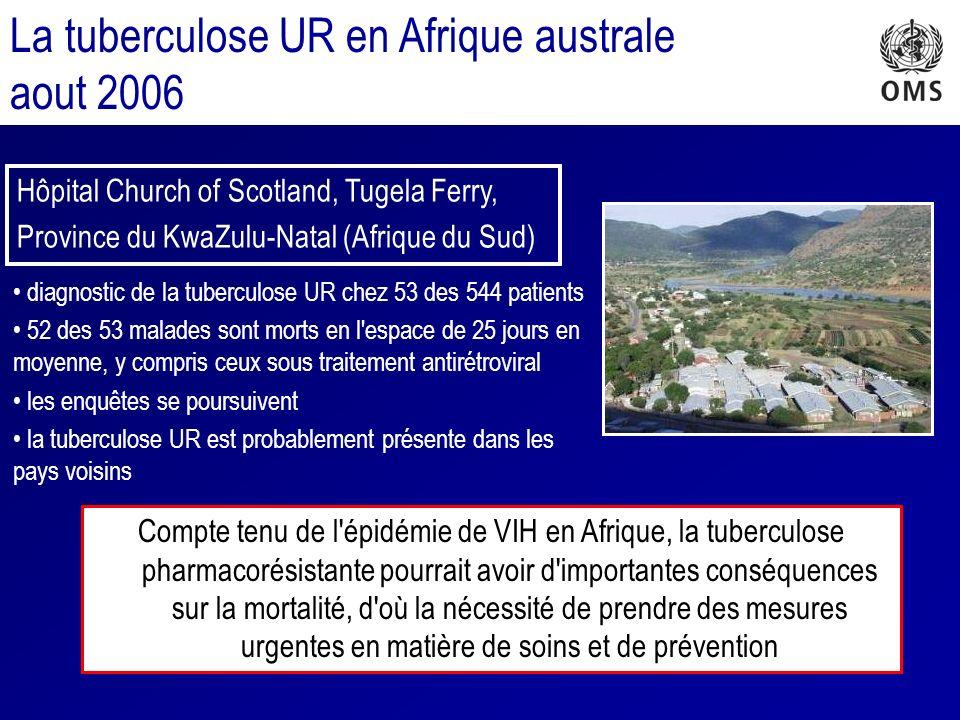 La tuberculose UR en Afrique australe aout 2006 diagnostic de la tuberculose UR chez 53 des 544 patients 52 des 53 malades sont morts en l espace de 25 jours en moyenne, y compris ceux sous traitement antirétroviral les enquêtes se poursuivent la tuberculose UR est probablement présente dans les pays voisins Hôpital Church of Scotland, Tugela Ferry, Province du KwaZulu-Natal (Afrique du Sud) Compte tenu de l épidémie de VIH en Afrique, la tuberculose pharmacorésistante pourrait avoir d importantes conséquences sur la mortalité, d où la nécessité de prendre des mesures urgentes en matière de soins et de prévention