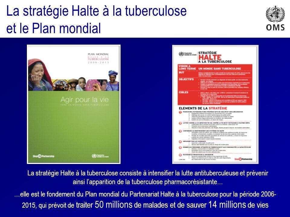 La stratégie Halte à la tuberculose consiste à intensifier la lutte antituberculeuse et prévenir ainsi lapparition de la tuberculose pharmacorésistante… …elle est le fondement du Plan mondial du Partenariat Halte à la tuberculose pour la période 2006- 2015, qui prévoit de traiter 50 millions de malades et de sauver 14 millions de vies La stratégie Halte à la tuberculose et le Plan mondial