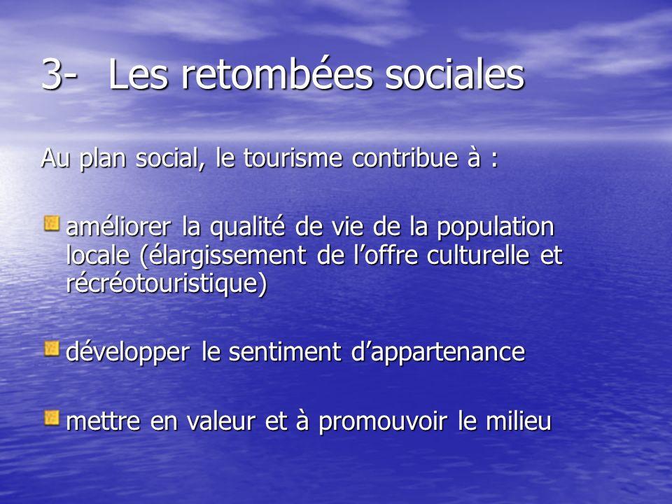 3-Les retombées sociales Au plan social, le tourisme contribue à : améliorer la qualité de vie de la population locale (élargissement de loffre culturelle et récréotouristique) développer le sentiment dappartenance mettre en valeur et à promouvoir le milieu