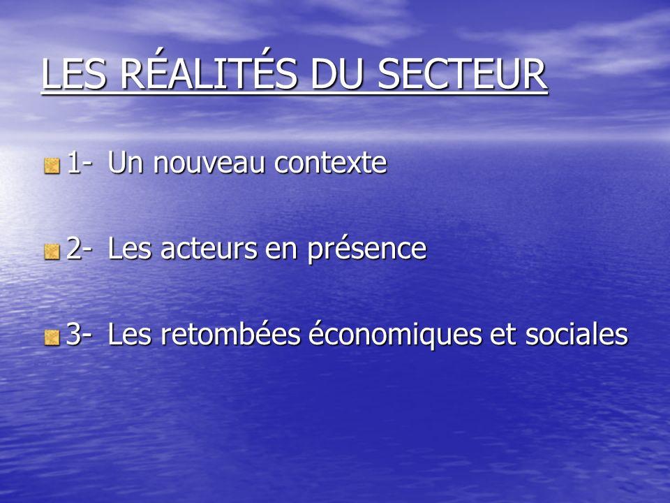LES RÉALITÉS DU SECTEUR 1-Un nouveau contexte 2-Les acteurs en présence 3-Les retombées économiques et sociales