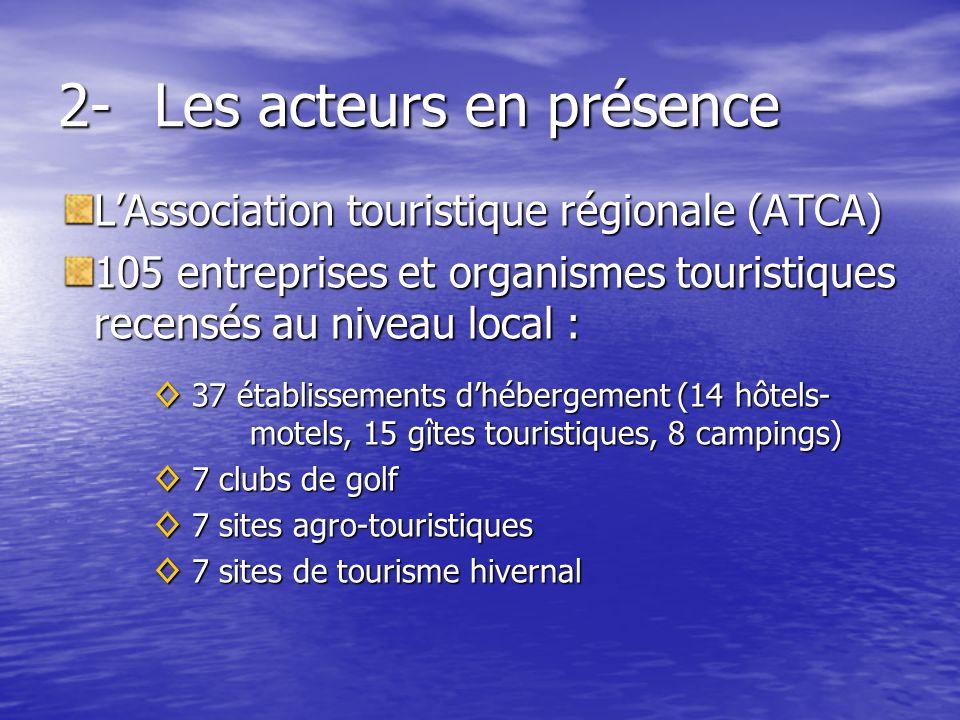 2-Les acteurs en présence LAssociation touristique régionale (ATCA) 105 entreprises et organismes touristiques recensés au niveau local : 37 établissements dhébergement (14 hôtels- motels, 15 gîtes touristiques, 8 campings) 37 établissements dhébergement (14 hôtels- motels, 15 gîtes touristiques, 8 campings) 7 clubs de golf 7 clubs de golf 7 sites agro-touristiques 7 sites agro-touristiques 7 sites de tourisme hivernal 7 sites de tourisme hivernal