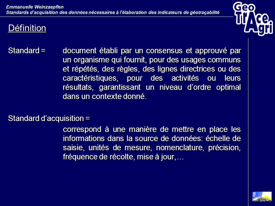 Définition Standard =document établi par un consensus et approuvé par un organisme qui fournit, pour des usages communs et répétés, des règles, des li