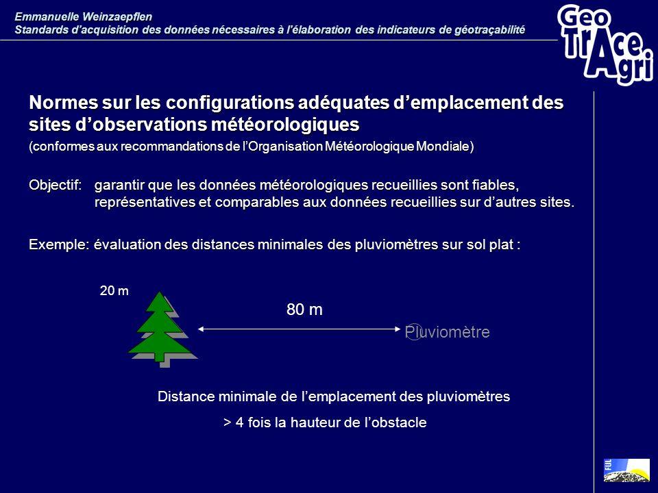 Normes sur les configurations adéquates demplacement des sites dobservations météorologiques (conformes aux recommandations de lOrganisation Météorolo
