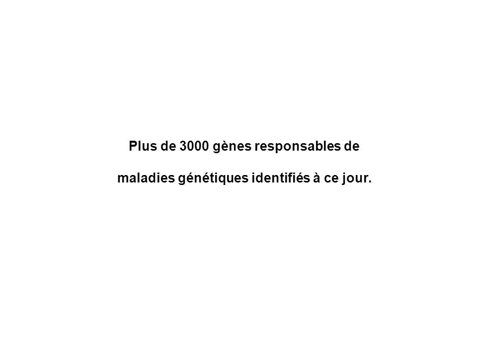 Plus de 3000 gènes responsables de maladies génétiques identifiés à ce jour.