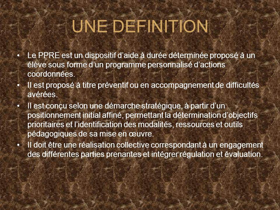 UNE DEFINITION Le PPRE est un dispositif daide à durée déterminée proposé à un élève sous forme dun programme personnalisé dactions coordonnées.