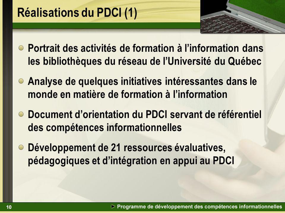 10 Réalisations du PDCI (1) Portrait des activités de formation à linformation dans les bibliothèques du réseau de lUniversité du Québec Analyse de qu