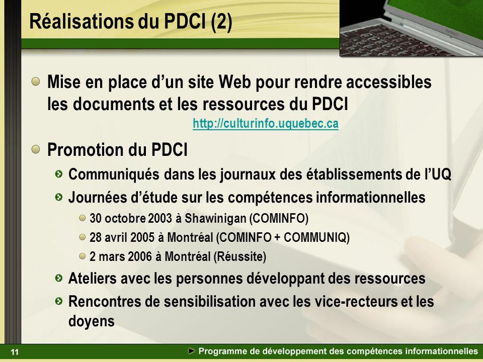 11 Réalisations du PDCI (2) Mise en place dun site Web pour rendre accessibles les documents et les ressources du PDCI http://culturinfo.uquebec.ca Pr