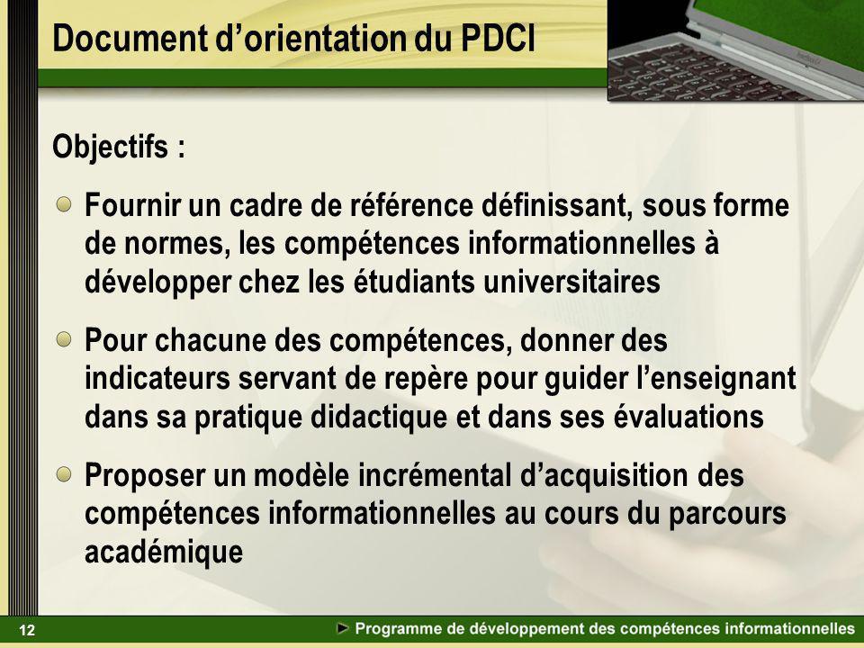 12 Document dorientation du PDCI Objectifs : Fournir un cadre de référence définissant, sous forme de normes, les compétences informationnelles à déve